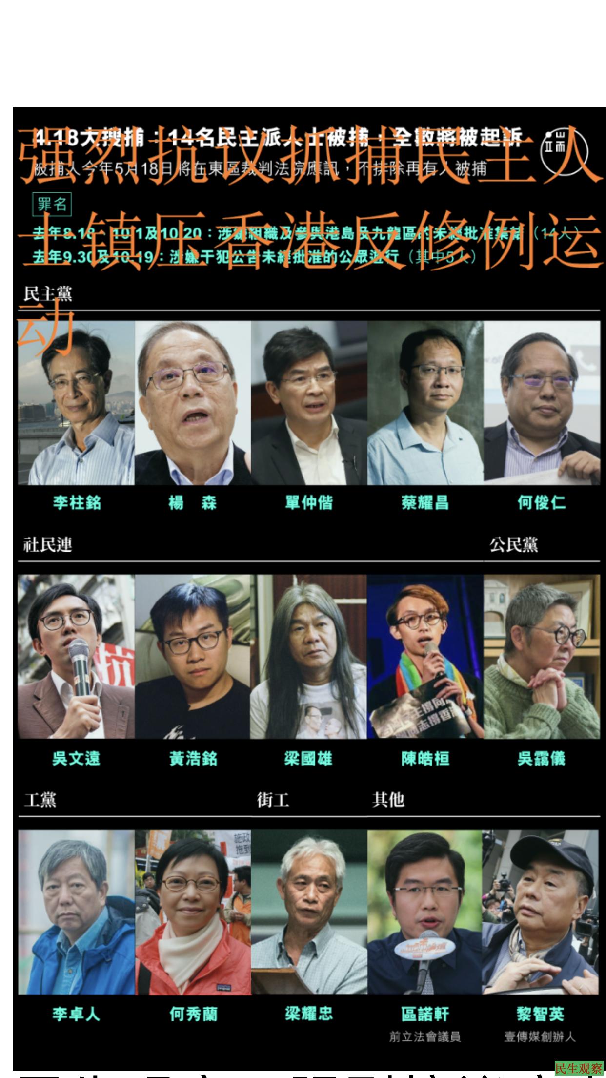 强烈抗议疫灾之下中共疯狂镇压香港反修例运动